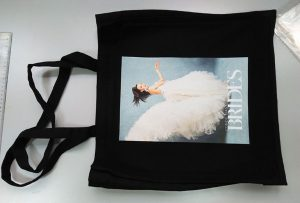 Црна торба за узорке из УК купца је штампана од стране дтг текстилног штампача